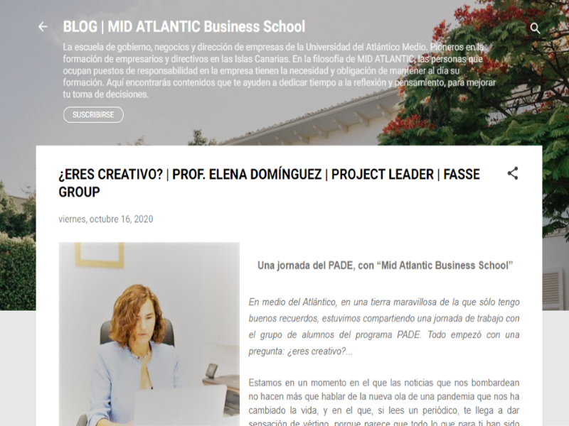 "¿Eres creativo? Jornada PADE, con la ""Mid Atlantic business school""."